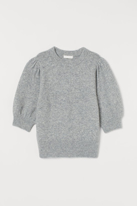 H&M Puff-sleeved Knit Sweater - Gray