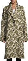 Robert Rodriguez Brocade Oversized Trench Coat, Green Pattern