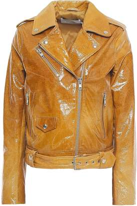 Stand Studio Polly Cracked Patent-leather Biker Jacket