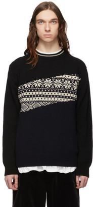 Comme des Garcons Homme Navy Jacquard Sweater