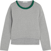 Vika Gazinskaya Cropped Quilted Stretch-cotton Sweatshirt - Gray