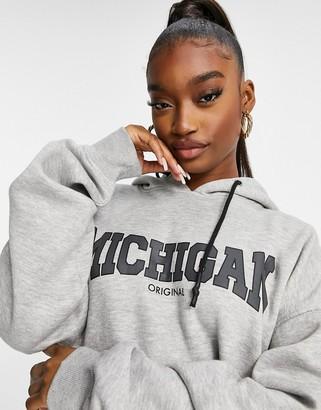 Public Desire oversized hoodie with Michigan slogan in marl grey