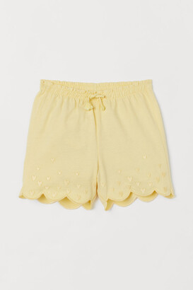 H&M Embroidered Jersey Shorts - Yellow