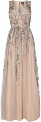 Adrianna Papell V Neck Embroidered Gown