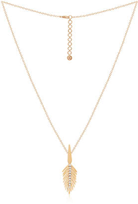 SUTRA 18k Rose Gold Diamond Feather Pendant Necklace