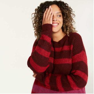 Joe Fresh Women+ Stripe Sweater, Tan (Size 2X)