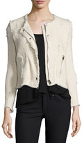 IRO Agnette Cropped Boucle Jacket, Vanille