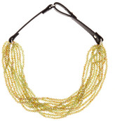 Natasha Accessories Leather Beaded Necklace