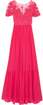 Zuhair Murad - Embellished Embroidered Silk-blend Tulle And Georgette Gown - Pink