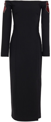 Temperley London Off-the-shoulder Embellished Wool-blend Midi Dress