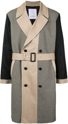 Ports V Houndstooth-Pattern Panelled Trench Coat