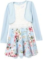 Beautees Long Sleeve Shrug & Floral Overlay Dress (Big Girls)