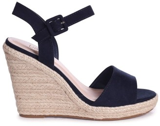 Linzi DORI - Navy Suede Barely There Wedge