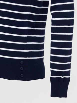 Very Striped Seam Front Detail Button Hem Jumper - Navy/White
