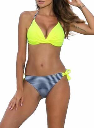 FOBEXISS Women's Floral Swimsuit Two Piece Halter Swimwear V Neck Bikini Set Vintage Floral Print Swimsuit Green