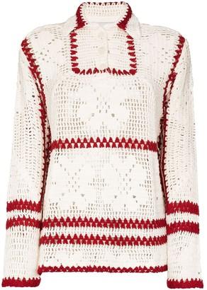 Bode Floral Crochet Jumper