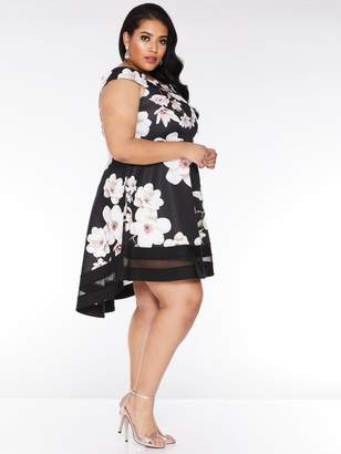 Bardot Quiz Curve Black And Stone Floral Dip Hem Dress