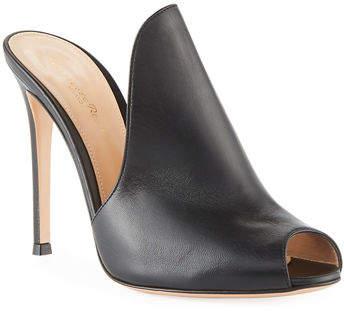 Gianvito Rossi High-Vamp Peep-Toe Mule Sandal