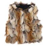 Per Baby Girl Faux Fur Vest Warm Sleeveless Jacket-Brown,M(2year)