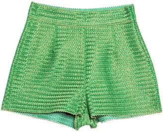 Ermanno Scervino Ermano Scervino Green and Gold Chevron Knit Woven Shorts S