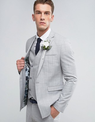 Asos Design Wedding Skinny Suit Jacket in Crosshatch Nep In Light Grey With Floral Print Lining