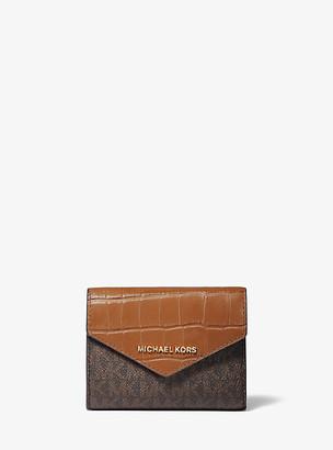 MICHAEL Michael Kors MK Medium Logo and Crocodile Embossed Leather Envelope Wallet - Chestnut - Michael Kors