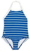 Ralph Lauren Toddler's & Little Girl's One Piece Ruffle Halter Swimsuit