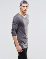 Asos Longline Muscle Long Sleeve T-Shirt With Scoop Neck In Gray