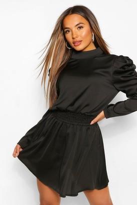 boohoo Petite Statement Sleeve Dress