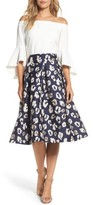 Eliza J Women's Pleated Abstract Jacquard Skirt