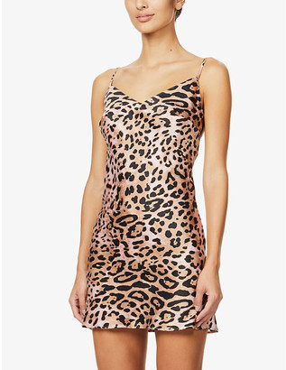 Marjolaine Louve panther-print stretch-silk chemise