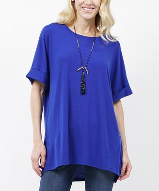 Lydiane Women's Tunics DENIMBLUE - Denim Blue Crewneck Roll-Sleeve Side-Slit Tunic - Women