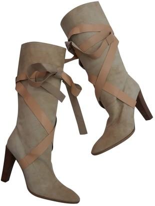 Roberto Cavalli Beige Suede Boots