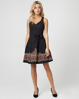 Le Château Abstract Print Cotton Sateen V-Neck Dress