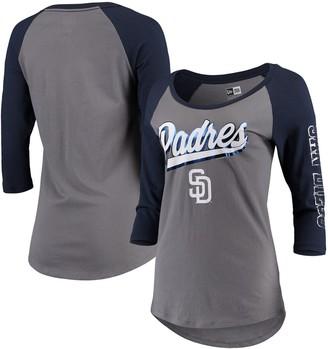 New Era Women's Gray/Navy San Diego Padres Foil Three-Quarter Sleeve Raglan T-Shirt