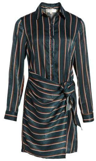 J.o.a. Women's Tie Front Stripe Shirtdress