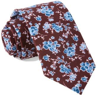Tie Bar Walnut Street Floral Burgundy Tie