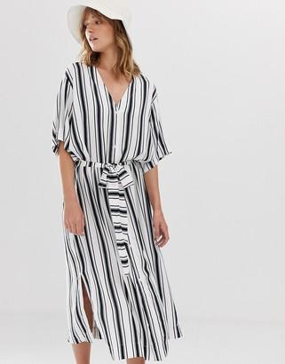 Weekday tie waist midi dress in mono stripe