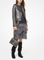MICHAEL Michael Kors Metallic Distressed Leather Moto Jacket