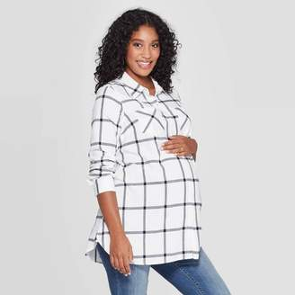 Ingrid & Isabel Isabel Maternity by Maternity Plaid Elbow Sleeve Flannel Tunic - Isabel Maternity by Ingrid & IsabelTM