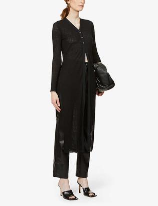 The Range Long-sleeve midi-length woven cardigan