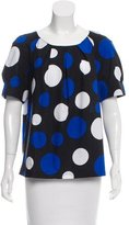 Michael Kors Polka Dot Print Short Sleeve Blouse