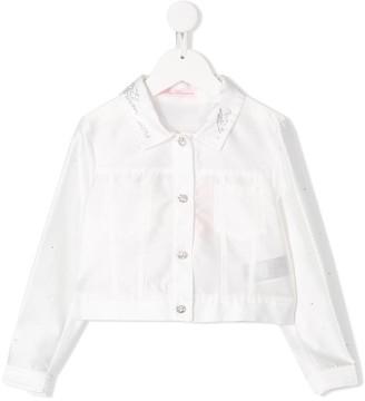 Miss Blumarine Rhinestone-Embellished Logo Jacket