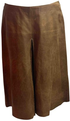 Miu Miu Brown Leather Skirt for Women Vintage