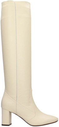 L'Autre Chose High Heels Boots In Beige Leather
