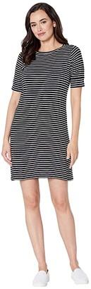 Calvin Klein Short Sleeve Stripe Dress w/ Pocket (Black/White) Women's Clothing