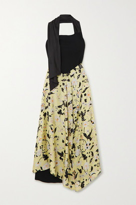 Ellery Draped Floral-print Silk-twill And Crepe Halterneck Maxi Dress - Black