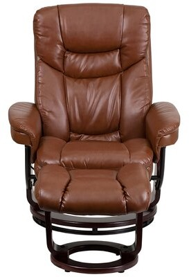 Red Barrel Studio Duglas Faux Leather Manual Swivel Recliner With Ottoman Shopstyle