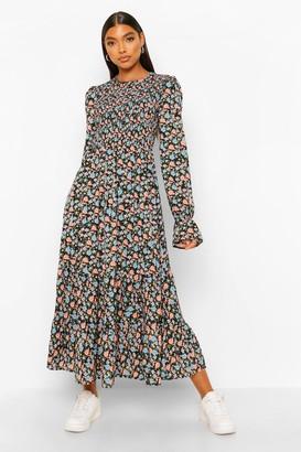 boohoo Tall Woven Floral Midaxi Smock Dress