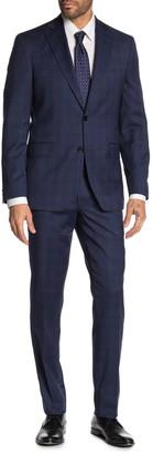Ted Baker Jarrow Blue Plaid Two Button Notch Lapel Wool Trim Fit Suit